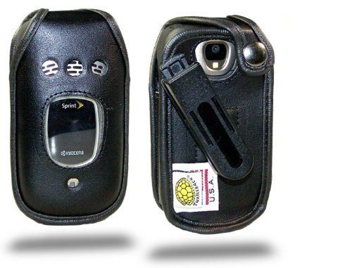 Kyocera DuraMax E4255 Executive Black Leather Case with Ratcheting Clip