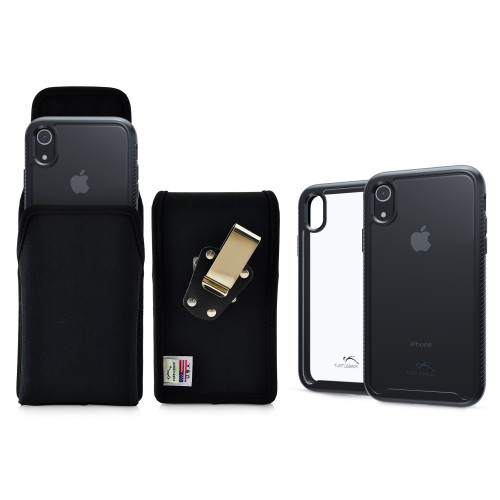 Tough Defense Combo for iPhone XR, Black/Clear Drop Test Case + Ver Nylon Pouch, Metal Clip