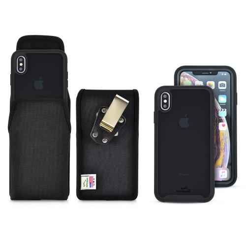 Tough Defense Combo for iPhone XS Max, Blk/Clr Drop Test Case + Ver Nylon Pouch, Metal Clip