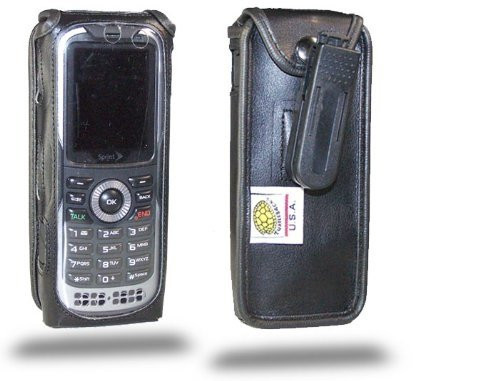 Kyocera DuraPlus E4233 Executive Black Leather Case with Ratcheting Clip