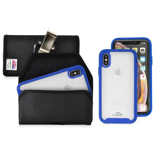 Tough Defense Combo for iPhone X & XS, Blu/Clr Drop Test Case + Hoz Nylon Pouch, Metal Clip