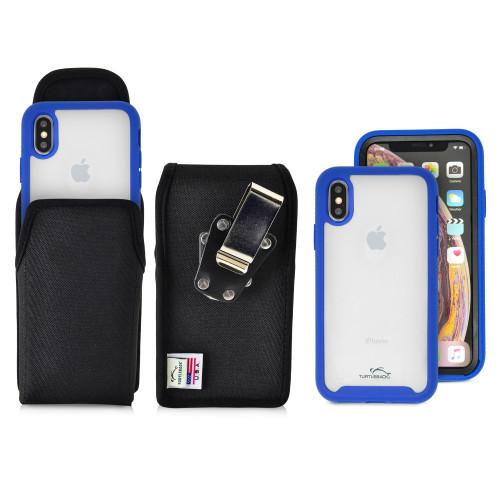 Tough Defense Combo for iPhone X & XS, Blu/Clr Drop Test Case + Ver Nylon Pouch, Metal Clip