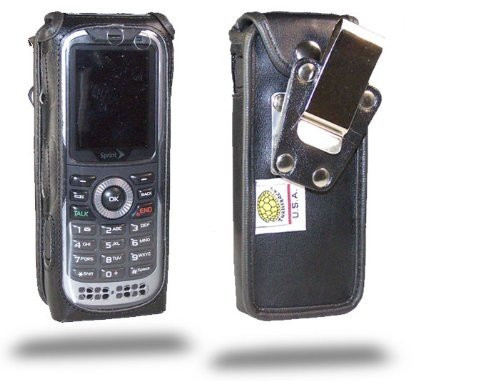Kyocera DuraPlus E4233 Black Leather Case with Rotating Metal Clip