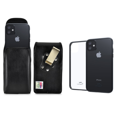 Hybrid Case Combo for iPhone 11 6.1, Clear/Black Case + Vertical Leather Pouch, Metal Clip