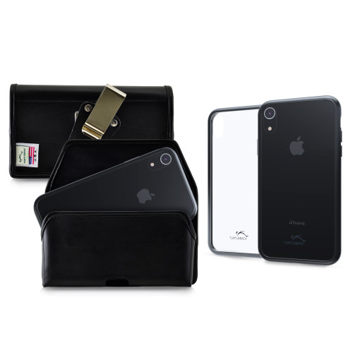 Hybrid Case Combo for iPhone XR 6.1, Clear/Black Case + Horizontal Leather Pouch, Metal Clip