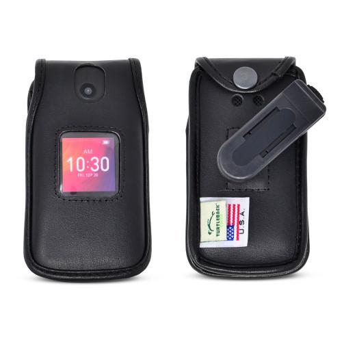 Alcatel GO FLIP 3 4052W & SMARTFLIP 4052R Black LEATHER Flip Phone Fitted Case Removable Belt Clip