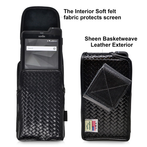 Sonim XP8 BASKET WEAVE Black Leather Holster Pouch Vertical with Rotating Belt Clip & Magnetic Closure