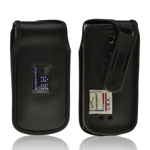 LG Exalt vn360 Executive Black Leather Case Phone Case with Ratcheting Belt Clip
