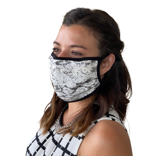 Face Mask in Snake Print Washable Reusable, Cotton Pocket, 2 Ply, Nose Seal, Adjustable Ear Loops (set of 2)