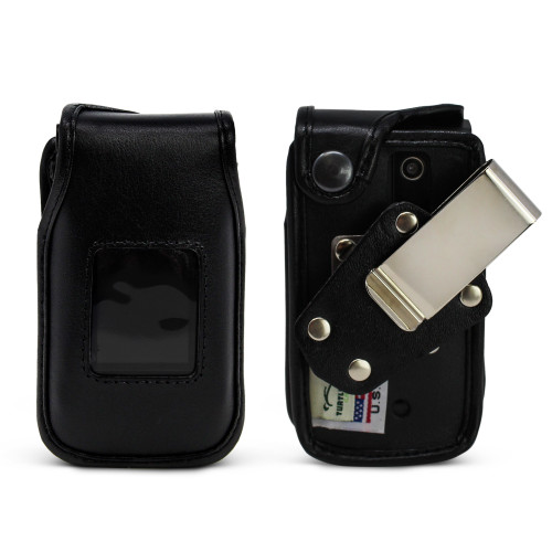 Orbic Journey V Black Leather Fitted Case with Heavy Duty Rotating Metal Belt Clip