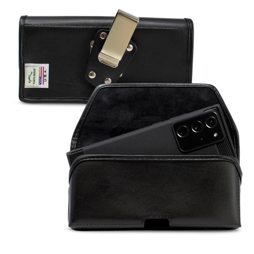 Samsung Galaxy Note 20 Ultra Belt Holster Black Leather Pouch with Heavy Duty Rotating Belt Clip, Horizontal