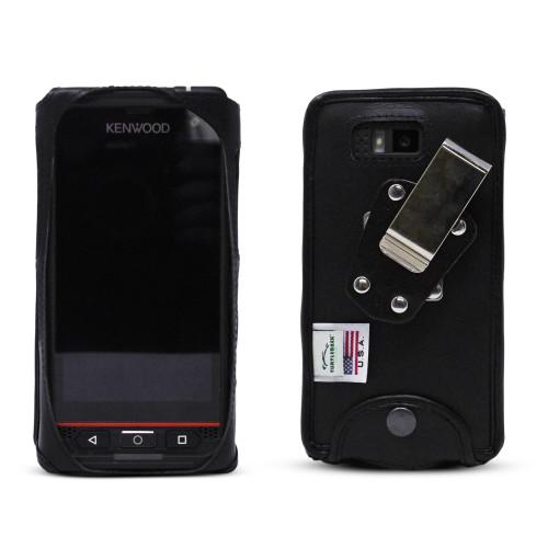 JVC Kenwood KWSA80K Fitted Phone Case Black Leather Metal Clip Turtleback