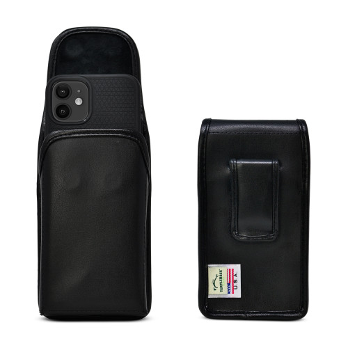 iPhone 12 Mini, Black Vertical Belt Holster With Leather Pouch & Executive Belt Clip