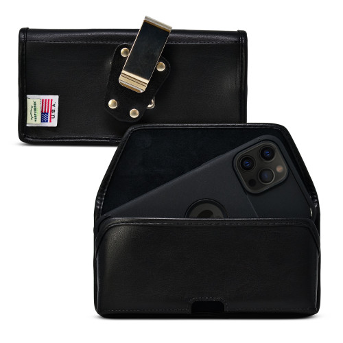 iPhone 13 Pro Max / 12 Pro Max Belt Case Horizontal Holster Black Leather Pouch Heavy Duty Rotating Clip