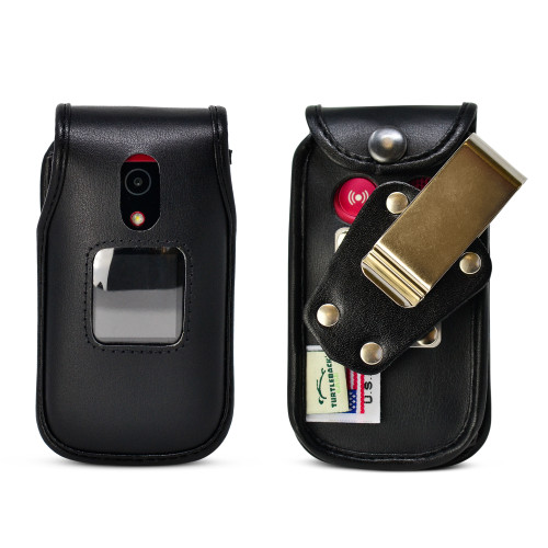 Doro 7090 Fitted Case Black Leather Fitted Case with Heavy Duty Rotating Metal Belt Clip