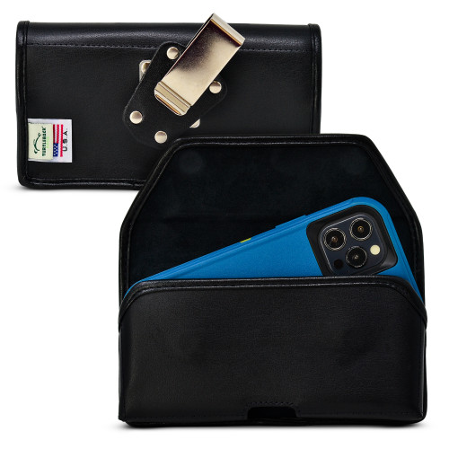 Turtleback Belt Case Designed for iPhone 12 Pro, 12 5G (2020) Fits with OTTERBOX DEFENDER, Black Leather Holster Pouch with Heavy Duty Rotating Belt Clip, Horizontal Made in USA