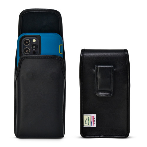 iPhone 12 Pro/12 5G (2020) Fits with OTTERBOX DEFENDER, Vertical Black Leather Pouch with Executive Belt Clip, Made in USA