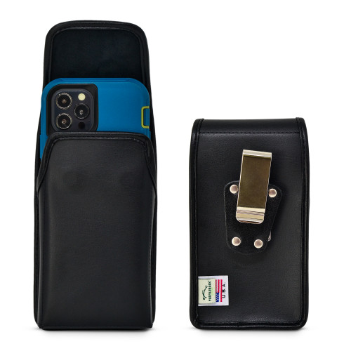 iPhone 13 & 12 Pro / iPhone 13 & 12 Fits with OTTERBOX DEFENDER, Vertical Holster Black Leather Pouch with Heavy Duty Rotating Belt Clip, Made in USA