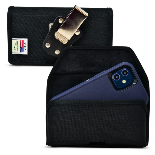 iPhone 12 Mini 5G (2020) Fits with OTTERBOX DEFENDER, Black Nylon Holster Pouch with Heavy Duty Rotating Belt Clip, Horizontal Made in USA