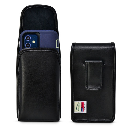 iPhone 12 Mini 5G (2020) Fits with OTTERBOX DEFENDER, Vertical Belt Case Black Leather Pouch with Executive Belt Clip, Made in USA