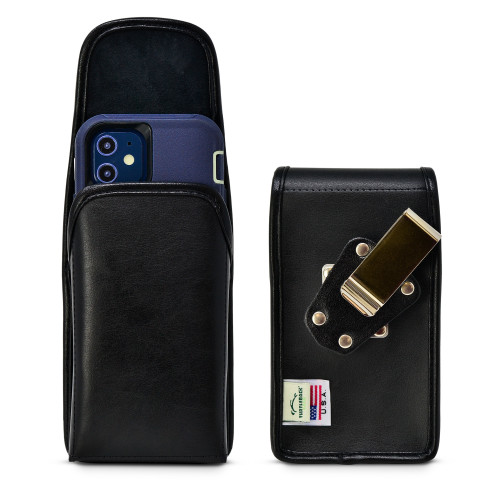 iPhone 12 Mini 5G (2020) Fits with OTTERBOX DEFENDER, Vertical Holster Black Leather Pouch with Heavy Duty Rotating Belt Clip, Made in USA