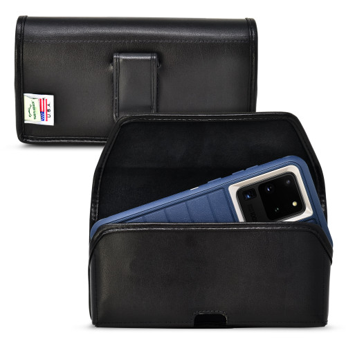 Galaxy S20 Ultra (2020) fits with OTTERBOX DEFENDER,  Horizontal Black Leather Pouch with Executive Belt Clip, Made in USA