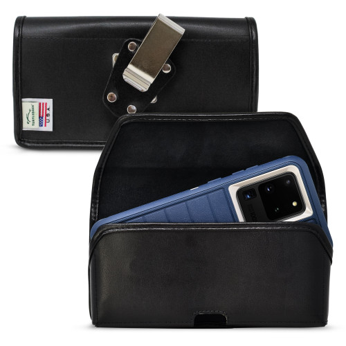 Turtleback Holster Designed for Galaxy S20 Ultra (2020) fits with OTTERBOX DEFENDER, Horizontal Black Leather Pouch with Rotating Metal Belt Clip,  Made in USA