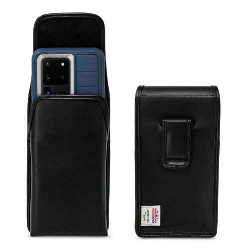 Galaxy S20 Ultra (2020) fits with OTTERBOX DEFENDER, Vertical Black Leather Executive Flush Leather Covered Metal Clip, Black Leather Pouch