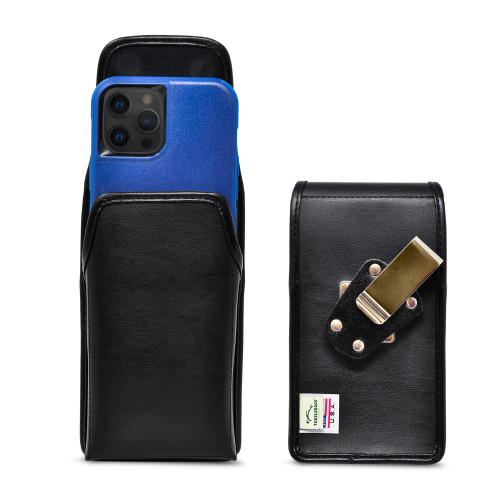 iPhone 13 Pro Max / 12 Pro MaxFits with Shockproof OTTERBOX COMMUTER,  Black Leather Vertical Holster with Heavy Duty Rotating Belt Clip, Made in USA