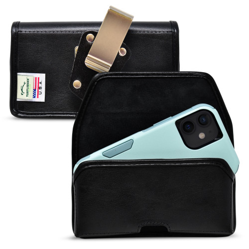 iPhone 12 Mini 5G (2020) Fits with Shockproof OTTERBOX COMMUTER, Horizontal Black Leather Holster Pouch with Heavy Duty Rotating Belt Clip, Made in USA