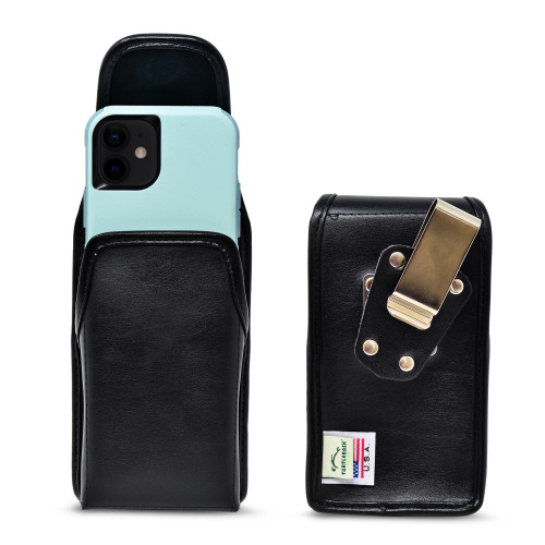 iPhone 12 Mini 5G (2020) Fits with Shockproof OTTERBOX COMMUTER,  Black Leather Vertical Holster with Heavy Duty Rotating Belt Clip, Made in USA