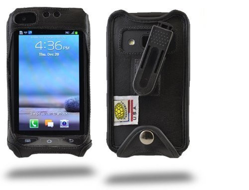 Samsung Rugby Pro Executive Black Leather Case with Ratcheting Belt Clip