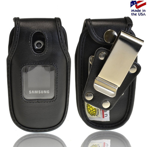 Samsung U360 Gusto Black Leather Fitted Case with Rotating Removable Metal Clip