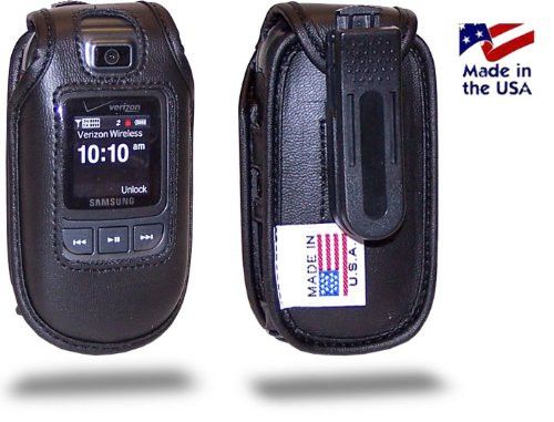 Samsung U640 Convoy Black Leather Fitted Case with Ratcheting Belt Clip