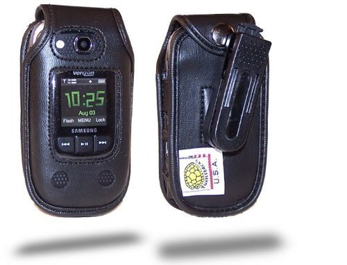 Samsung Convoy U640 with Extended Battery Executive Black Leather with Ratcheting Belt Clip