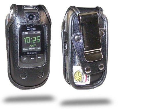 Samsung Convoy U640 Black Leather Case with Rotating Metal Clip with Rotating Removable Metal Clip