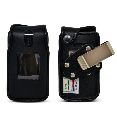 Link II 2 Fitted Case Black Leather Fitted Case with Heavy Duty Rotating Metal Belt Clip