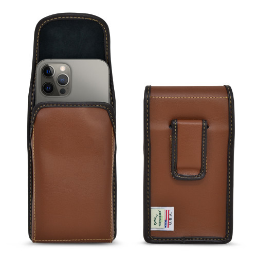 iPhone 13 & 12 Pro / iPhone 13 & 12 Vertical Holster Case BROWN Leather Pouch with Executive Clip