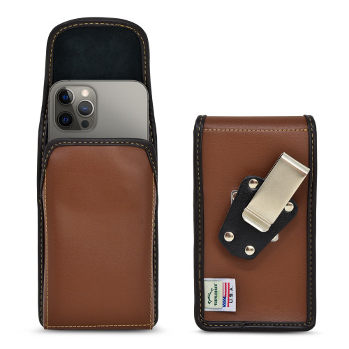 iPhone 13 & 12 Pro / iPhone 13 & 12 Vertical Holster BROWN Leather Pouch with Heavy Duty Rotating Belt Clip