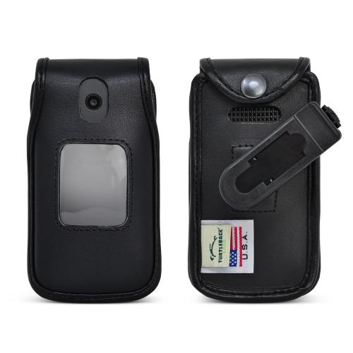 AT&T Cingular Flip 4 IV U102AA Black LEATHER Flip Phone Fitted Case Removable Plastic Belt Clip