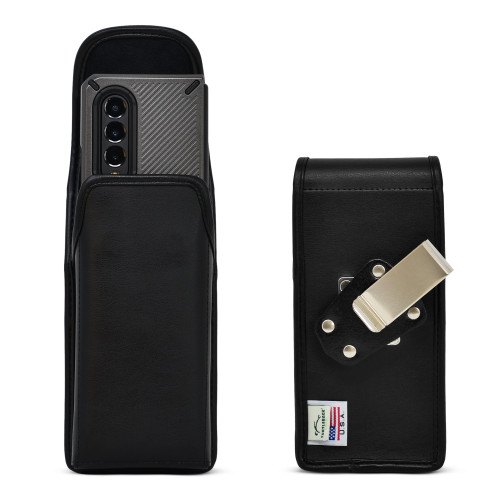 Galaxy Z Fold3 (2021) with Bulky Fit Case Vertical Holster Black Leather Pouch Heavy Duty Rotating Metal Belt Clip