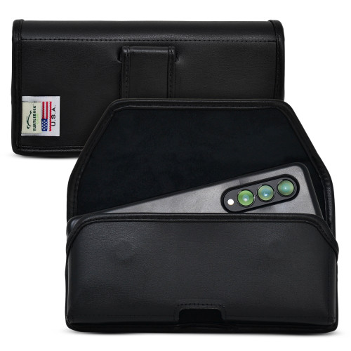 Galaxy Z Fold 3 (2021) with Thin Fit Case Horizontal Belt Case Black Leather Pouch with Executive Belt Clip