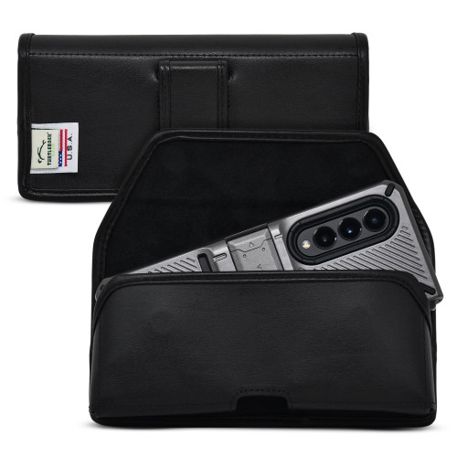 Galaxy Z Fold 3 (2021) with Bulky Fit Case Horizontal Belt Case Black Leather Pouch with Executive Belt Clip