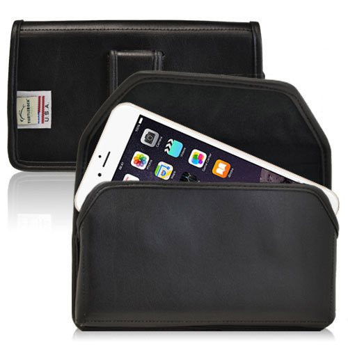 Apple iPhone 6 PLUS (5.5 in.) Horizontal Leather Holster, Black Belt Clip