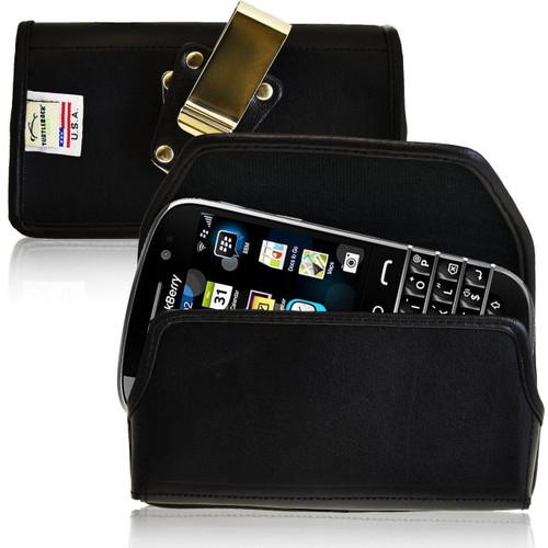 Blackberry Classic Q20 Horizontal Leather Holster, Metal Belt Clip