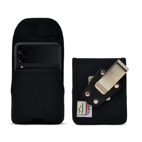 Galaxy Z Flip3 5G Vertical Holster Black Nylon Pouch with Heavy Duty Rotating Belt Clip
