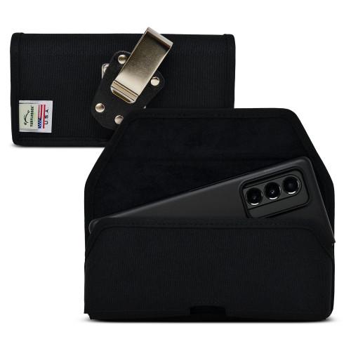 Galaxy Z Fold3 (2021) with Thin Fit Case Horizontal Holster Black Nylon Pouch Heavy Duty Rotating Belt Clip