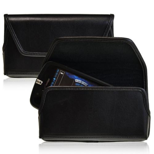 Casio GzOne Commando 4G LTE C811 Horizontal Leather Holster, Black Belt Clip