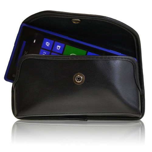 Horizontal Leather Extended Holster for HTC 8x Windows with Bulky Cases, Metal Belt Clip, Snap Closure