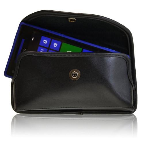 HTC 8X Windows Horizontal Leather Holster, Metal Belt Clip, Snap Closure